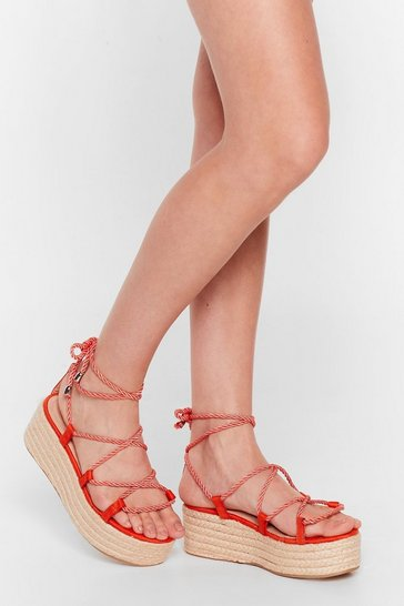 Natural Don't Lose Rope Lace-Up Platform Sandals