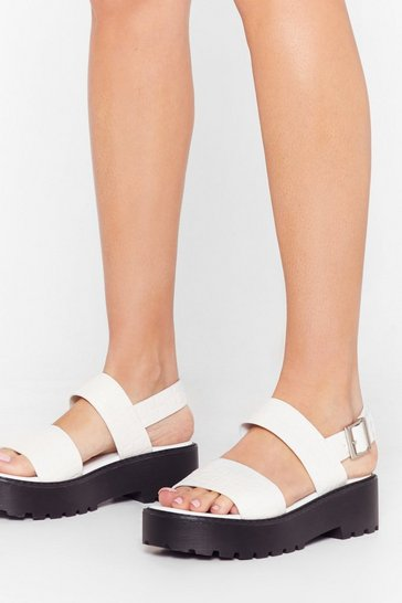 White Sunny Side Up Patent Plaform Sandals