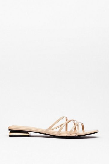 Stone Strappy for You Faux Leather Flat Sandals
