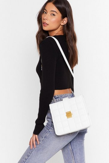 White WANT Quilt Hatin' Faux Leather Crossbody Bag