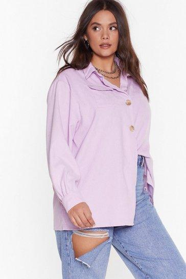 Lilac Don't Texture Back Plus Corduroy Shirt