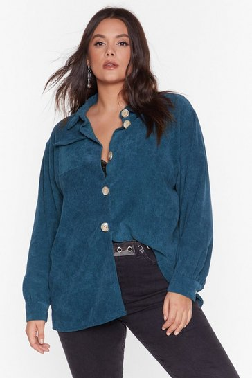 Teal Cord Oversized Shirt