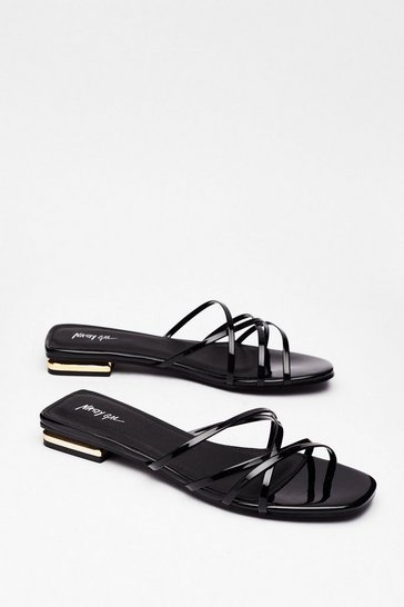 Black Strappy for You Faux Leather Flat Sandals