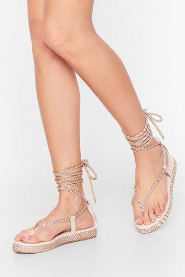 Natural Lace Dance Woven Platform Sandals