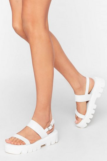 White Cleat of the Night Faux Leather Strappy Sandals
