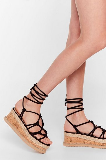 Black Woven Tie Up Strappy Platform Sandals