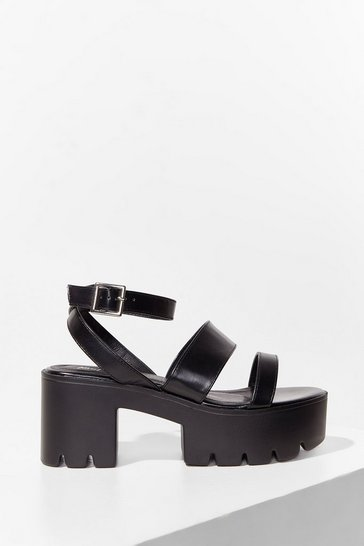 Black In the Driving Cleat Strappy Platform Sandals