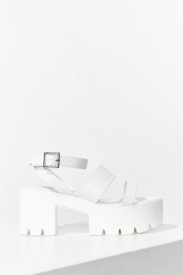 White In the Driving Cleat Strappy Platform Sandals