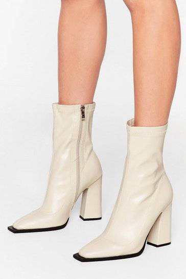 Stone What Do You Flare Faux Leather Sock Boots