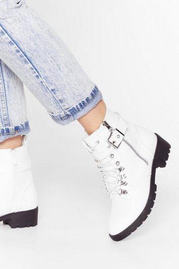 White Sit Down and Buckle Up Faux Leather Ankle Boots