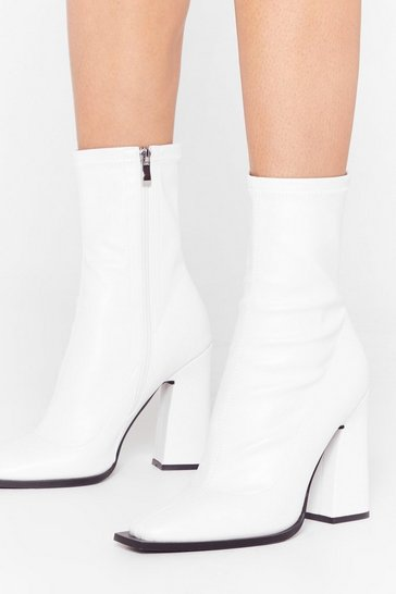 White What Do You Flare Faux Leather Sock Boots