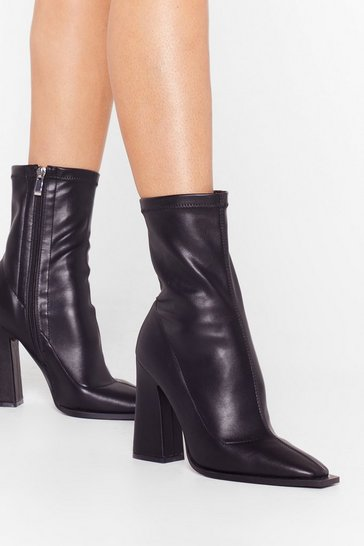 Black What Do You Flare Faux Leather Sock Boots