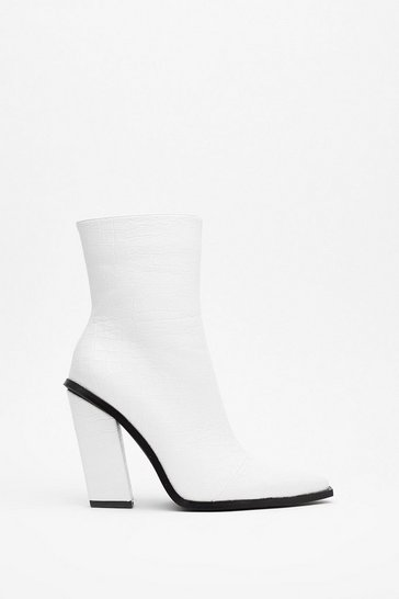 White Just Croc Off Faux Leather Heeled Boots