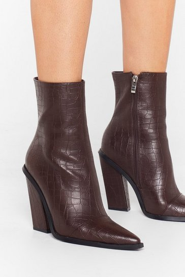 Chocolate Just Croc Off Faux Leather Heeled Boots