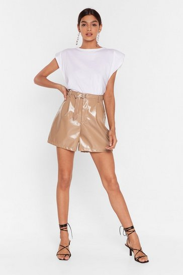 Camel The Vinyl Countdown High-Waisted Shorts
