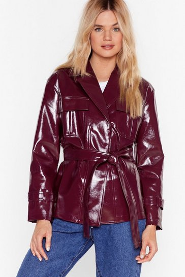 Burgundy I'm Totally Vinyl Belted Jacket