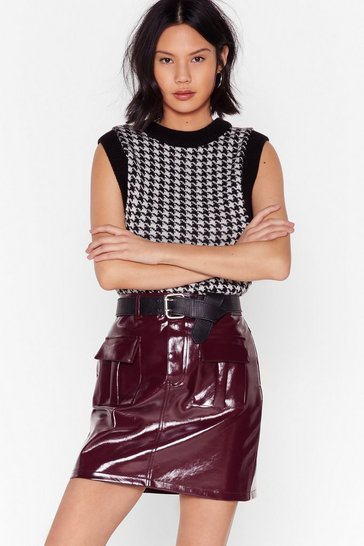 Burgundy I'm Totally Vinyl High-Waisted Mini Skirt