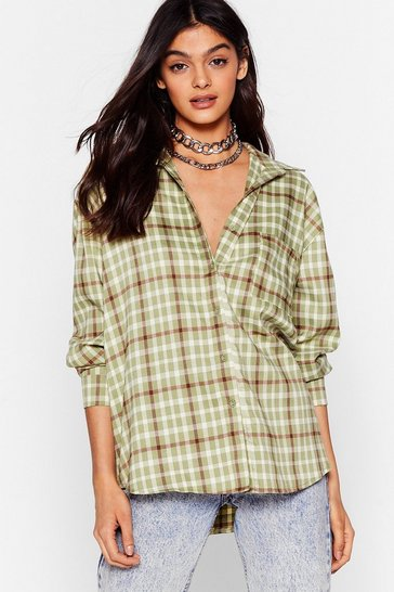 Sage Check Up On 'Em Relaxed Shirt