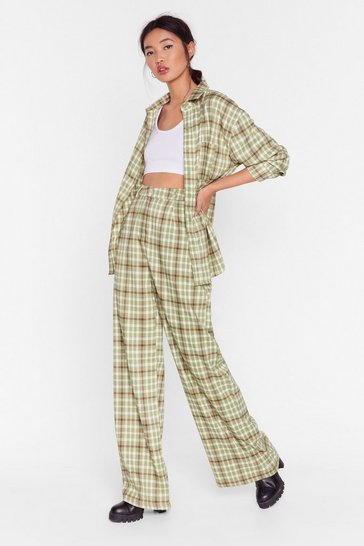 Sage Check Up On 'Em Wide-Leg Pants