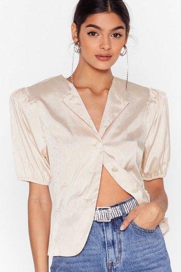 Cream Pleat You There Satin Puff Shoulder Blouse