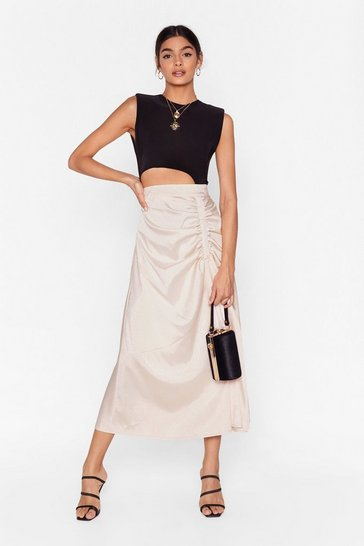 Cream We Won't Be Ruched Satin Midi Skirt