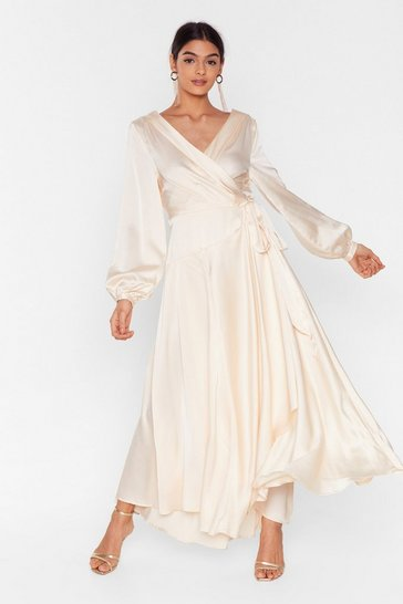 Cream Satin Long Sleeve Maxi Wrap Dress