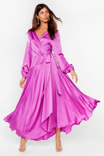 Purple Long Cowl Back Wrap Dress with Long Sleeves