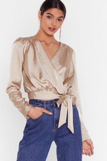 Champagne Tie Oh Tie Satin Cropped Blouse