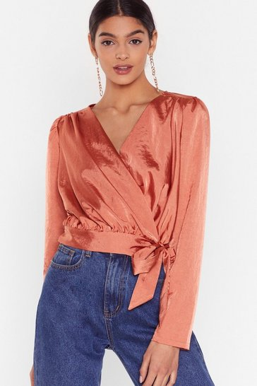 Salmon Tie Satin Cropped Blouse with Padded Shoulders