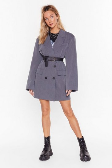 Grey Back in Business Oversized Blazer Dress
