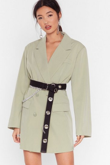 Sage Back in Business Oversized Blazer Dress