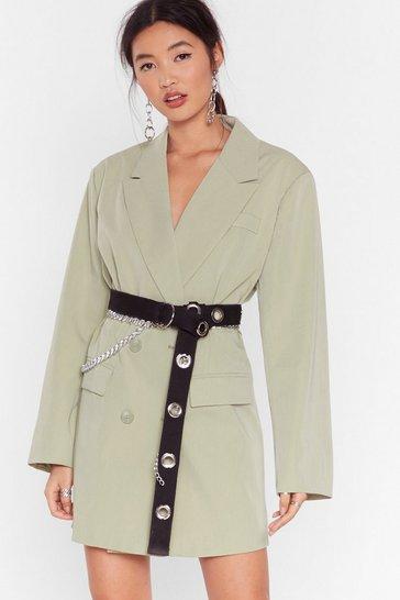 Sage Back in Business Oversized Blazer Dress