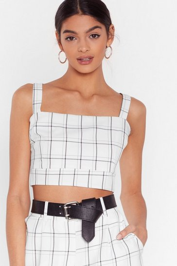 Square Up to 'Em Check Crop Top, White