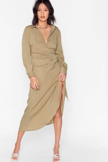 Stone Tie Wrap Midi Shirt Dress