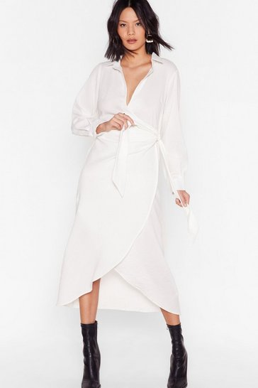 White Tie Wrap Midi Shirt Dress