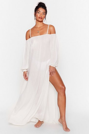 Cream Could've Pooled Me Cold Shoulder Cover-Up Dress