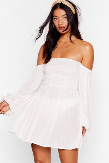 Cream Right Shirr Off-the-Shoulder Cover-Up Dress