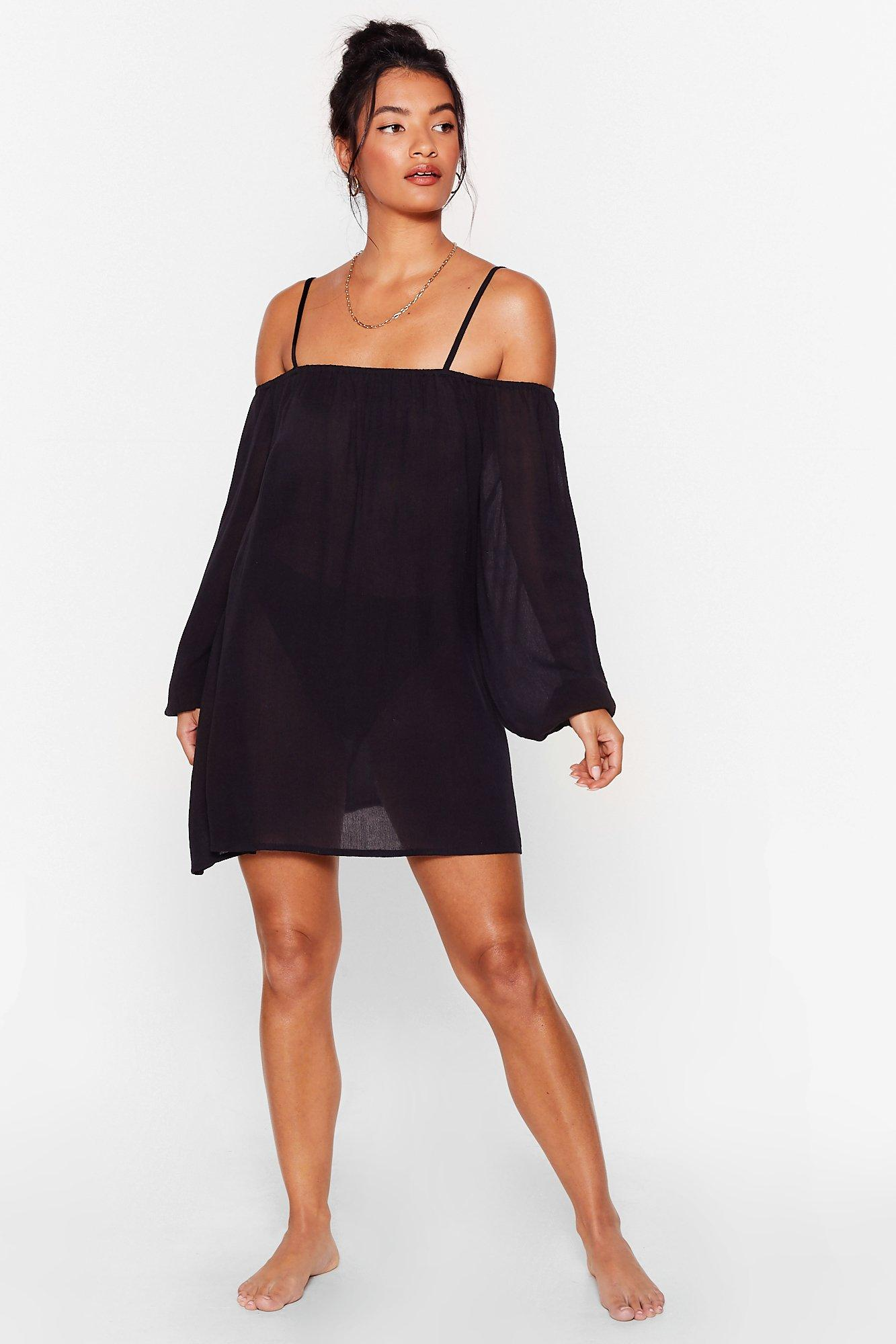 Blow Hot and Cold Shoulder Cover-Up Mini Dress