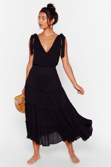 Black Cut Ties Cover-Up Midi Dress
