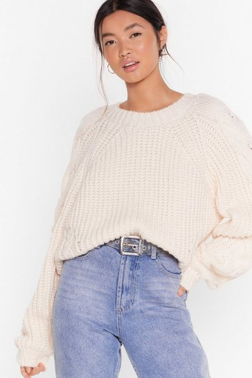Womens Cream Cable Sleeve Chunky Jumper