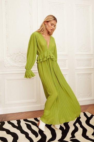Green Frill V-Neck Maxi Dress