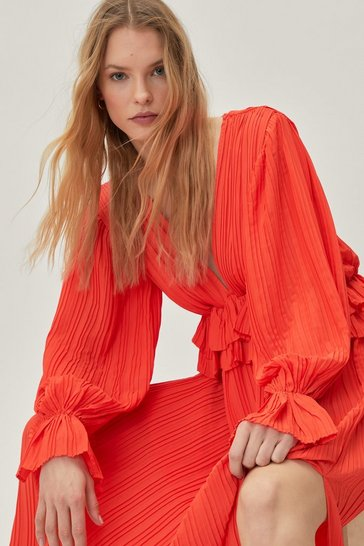 Orange Frill V-Neck Maxi Dress