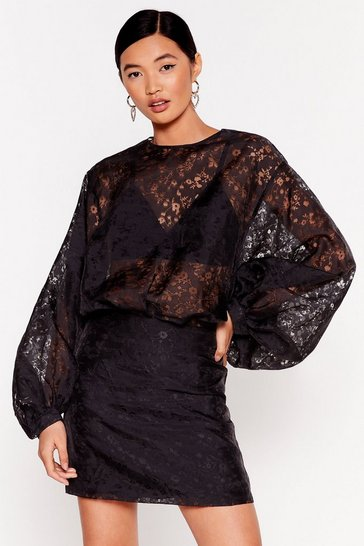 Black Grow Your Facts Organza Mini Dress