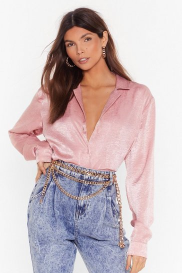 Blush Don't Slick Down Oversized Satin Shirt