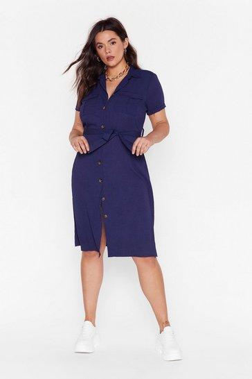 Navy V-Neckline Plus Size Midi Dress
