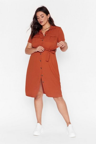 Orange V-Neckline Plus Size Midi Dress
