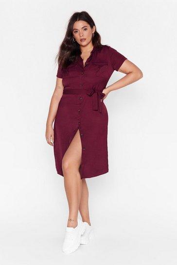 Purple V-Neckline Plus Size Midi Dress