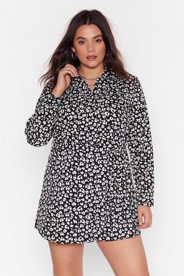 Black Never a Dull Meow-ment Plus Leopard Shirt Dress