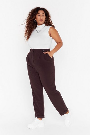 Womens Chocolate Button It Please Plus Tapered Pants
