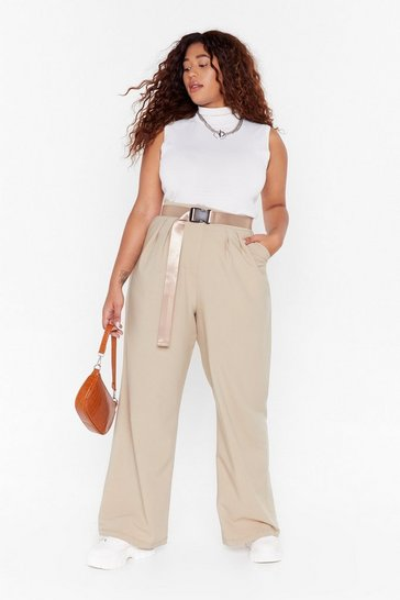 Beige High Five Wide-Leg Plus Trousers